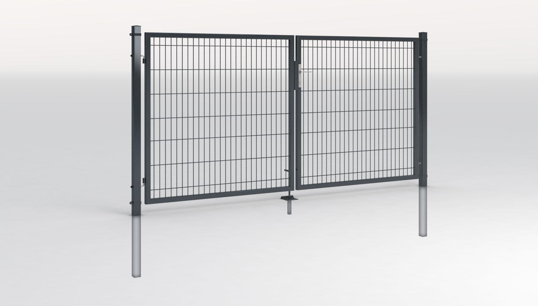 Einfahrtstor-2-Flg-Toranlage-3m-breit-mit-Gitterfuellung-Zauntor-Tor-Gartentor