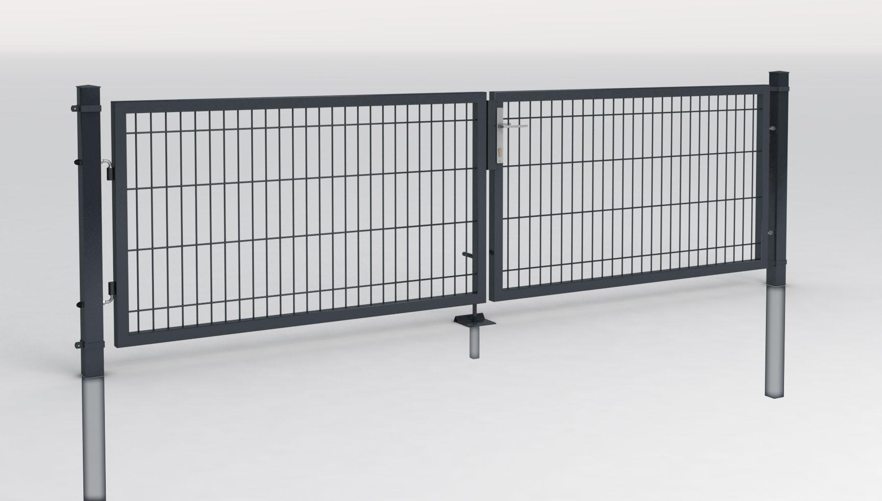 einfahrtstor 2 flg toranlage 3m breit mit gitterf llung zauntor tor gartentor ebay. Black Bedroom Furniture Sets. Home Design Ideas