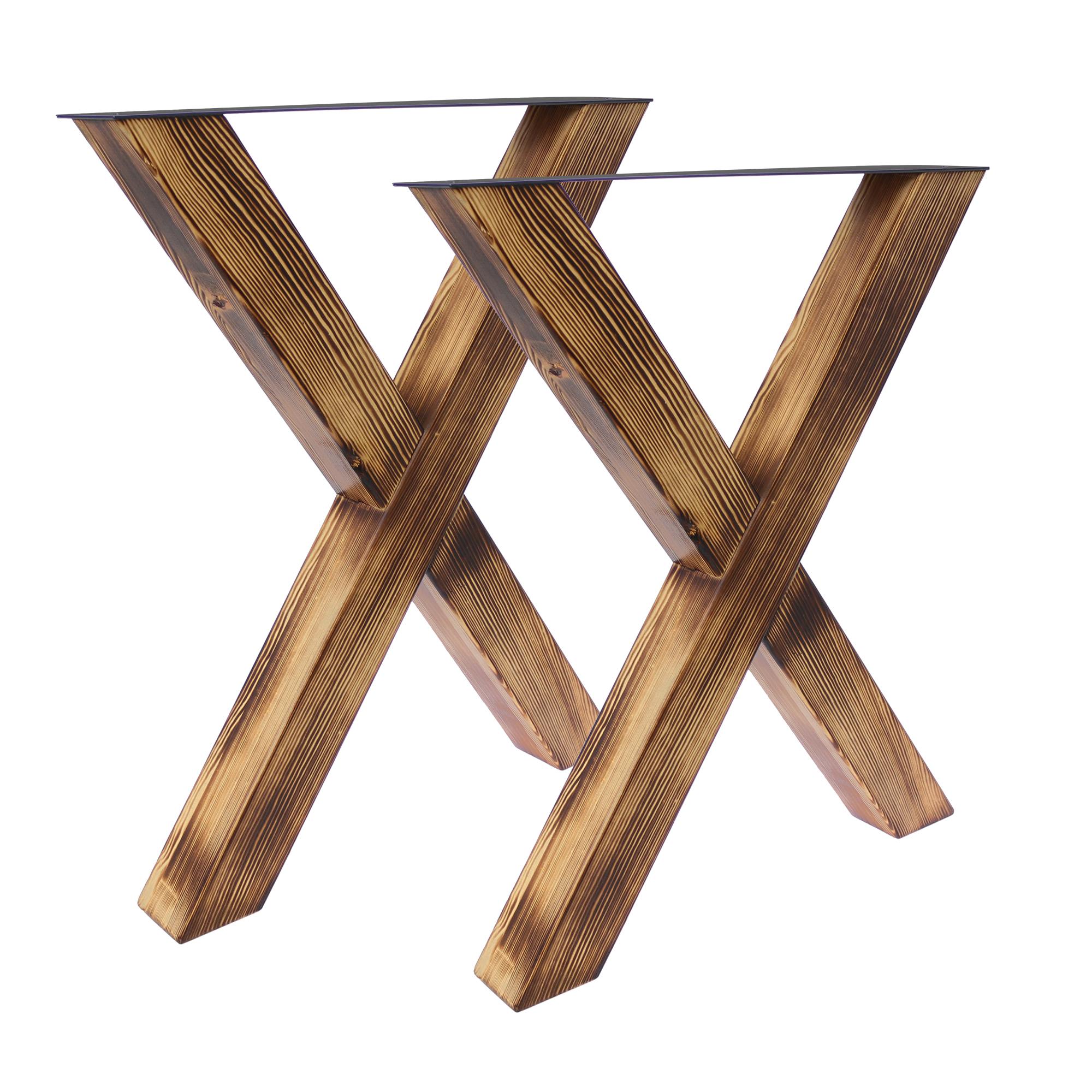 Tisch X - 80/80 Holz geflammt 2er Set