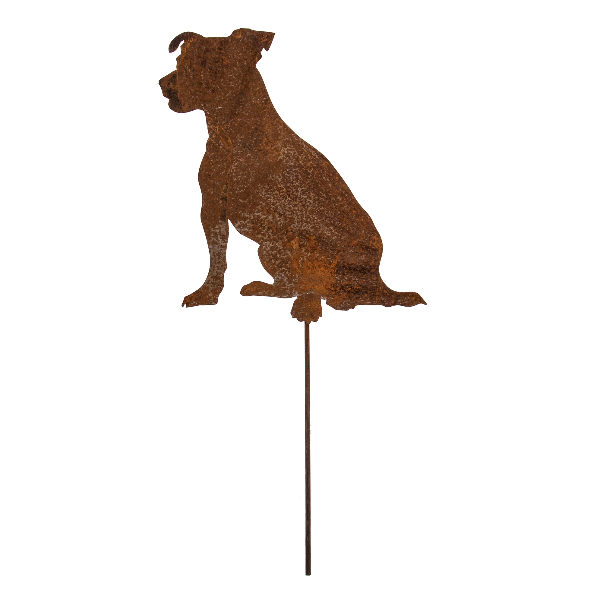Gartenstecker edelrost hund 35cm x 38cm mit metallstab for Gartenstecker edelrost